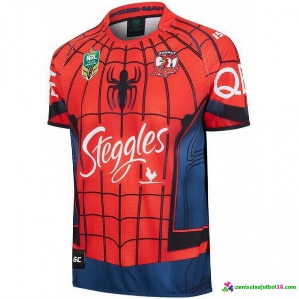 Camiseta Rugby Spider Man Sydney Roosters 2017 Rojo