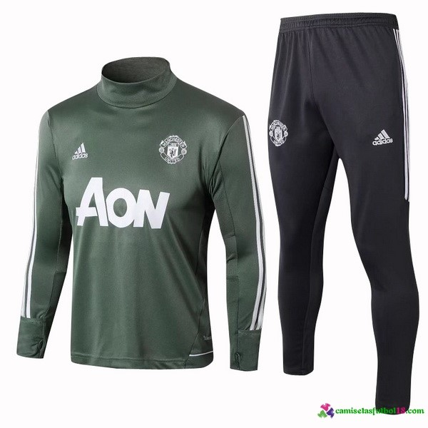 Chándal Entrenamiento Manchester United 2017 2018 Verde Blanco