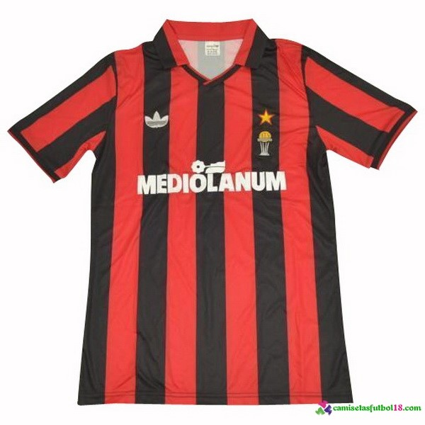 Camiseta 1ª Kit AC Milan Retro 1990 1991 Rojo