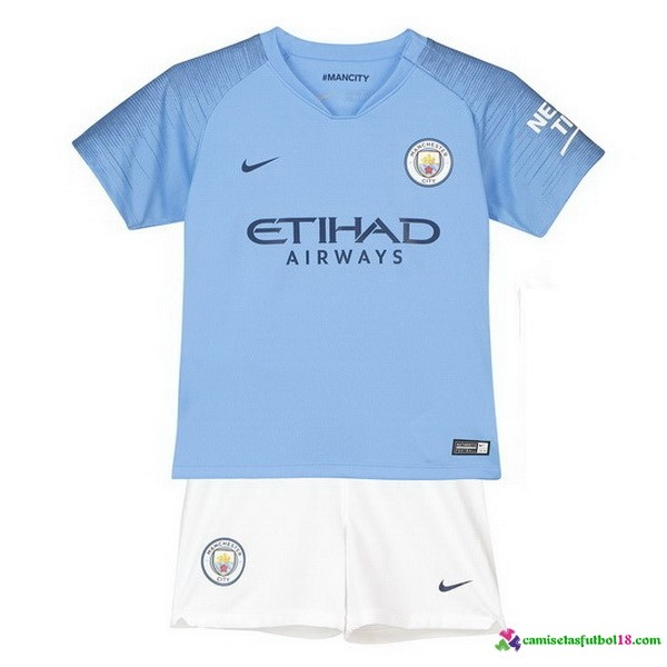 Camiseta 1ª Kit Manchester City Niños 2018 2019 Azul Blanco