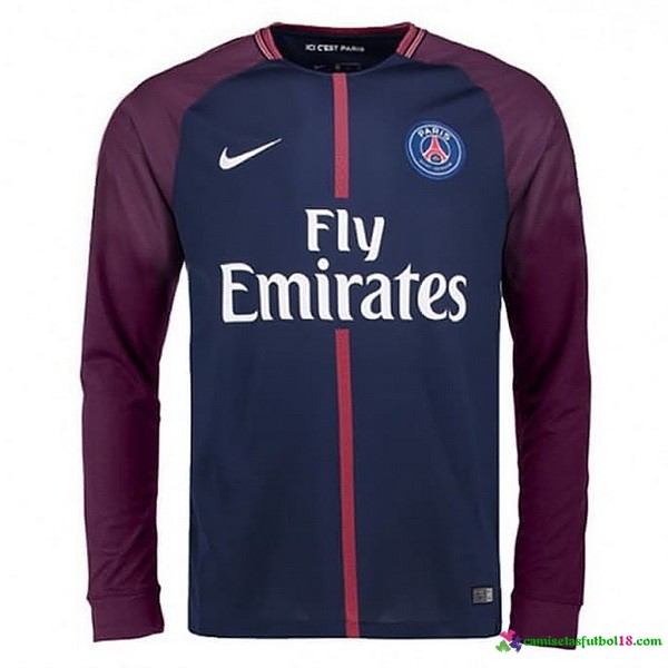 Camiseta 1ª Kit Paris Saint Germain ML 2017 2018 Azul