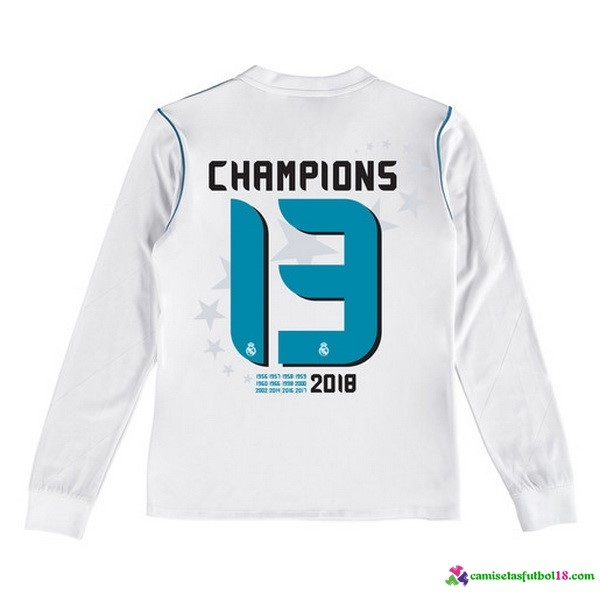Camiseta 1ª Kit Real Madrid Champions 13 ML Ninos 2017 2018 Blanco
