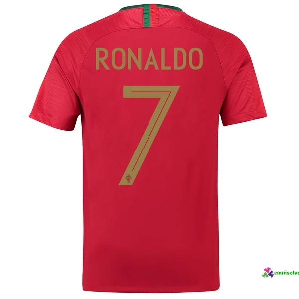 Ronaldo Camiseta 1ª Kit Portugal 2018 Rojo