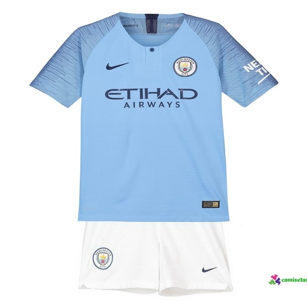 Camiseta 1ª Kit Niños Manchester City 2018 2019 Azul Blanco
