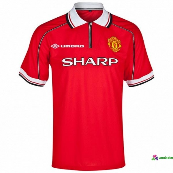 Camiseta 1ª Kit Manchester United Retro 1998 1999 Rojo