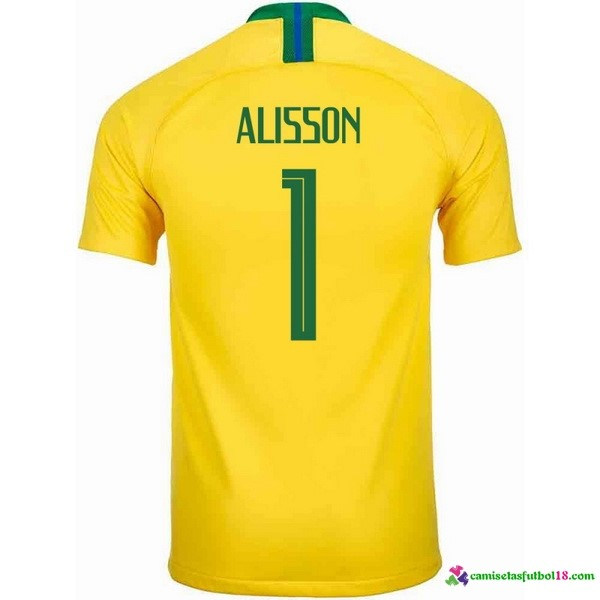 Alisson Camiseta 1ª Kit Brasil 2018 Amarillo