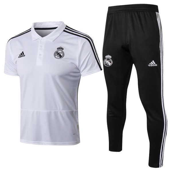 Polo Real Madrid Conjunto Completo 2018 2019 Blanco