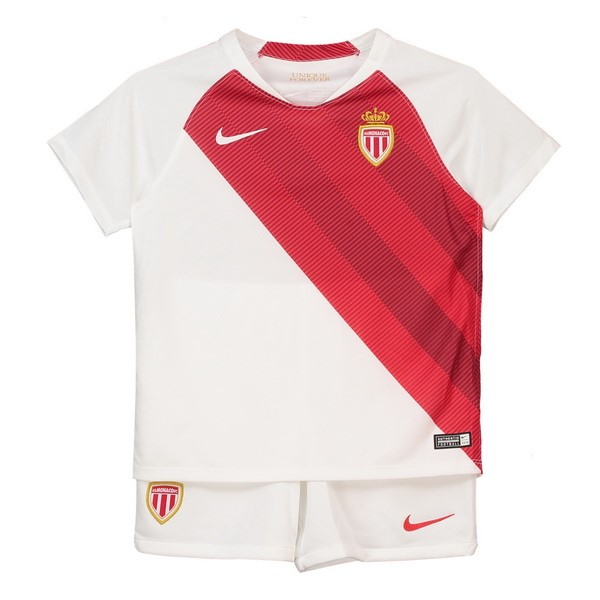 Camiseta AS Monaco 1ª Kit Niños 2018 2019 Blanco Rojo
