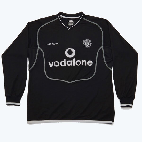 Camiseta Manchester United 2ª Kit ML Retro 2000 2002 Negro