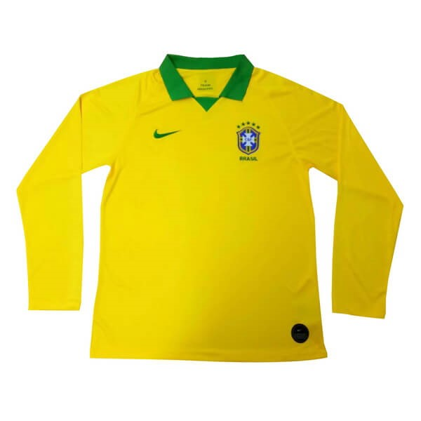 Camiseta Brasil 1ª Kit ML 2019 Amarillo