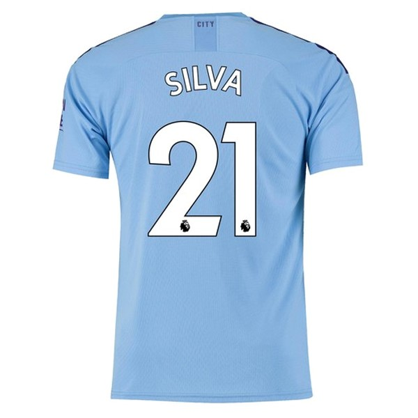 Camiseta Manchester City NO.21 Silva 1ª Kit 2019 2020 Azul
