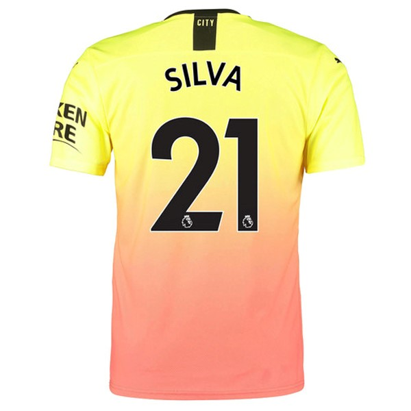Camiseta Manchester City NO.21 Silva 3ª Kit 2019 2020 Naranja