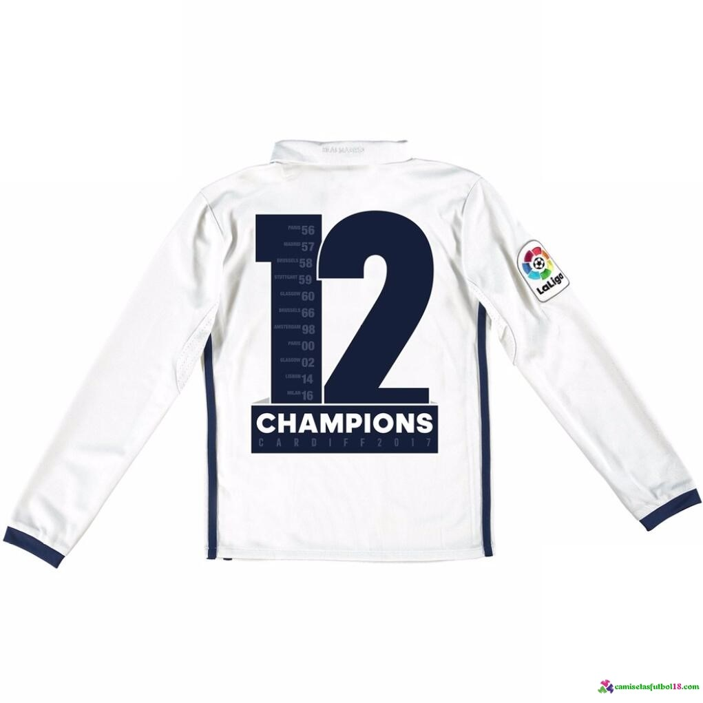 Champions Camiseta 1ª Kit ML Conjunto Real Madrid Niño 2016 2017