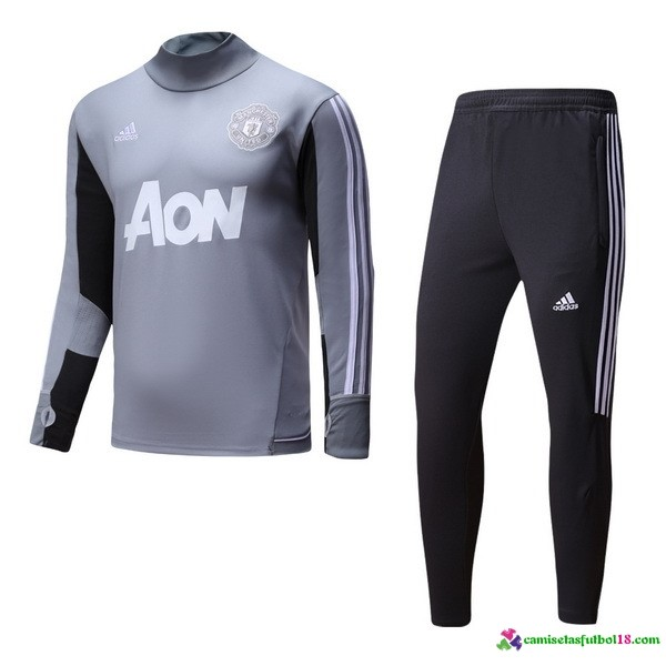 Chándal Entrenamiento Manchester United 2017 2018 Gris Claro Negro