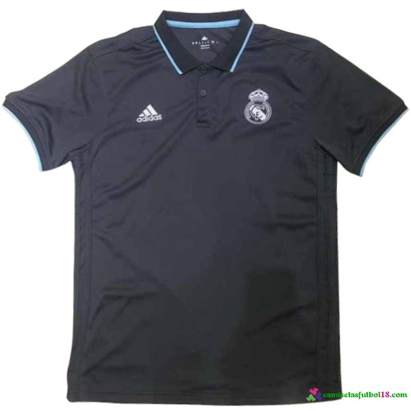 Polo Del Real Madrid 2017 2018 Negro Azul Claro