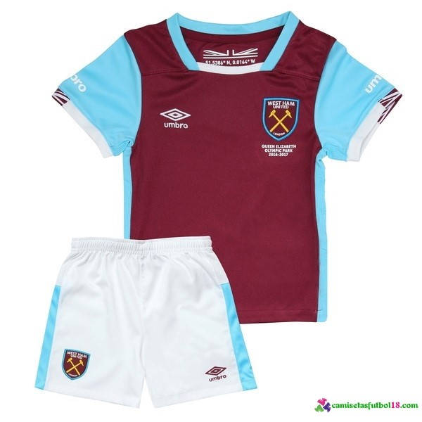 Camiseta 1ª Kit Conjunto West Ham United Niño 2016 2017